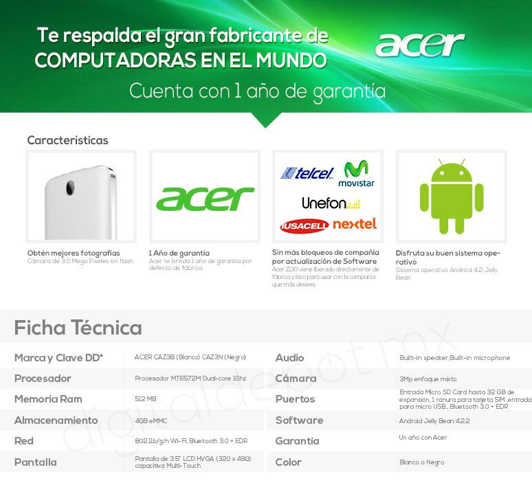 Acer-Celular-Smarthphone- Liquid Z3-3.5 pulgadas-MT6572M-4Gb-caracteristicas