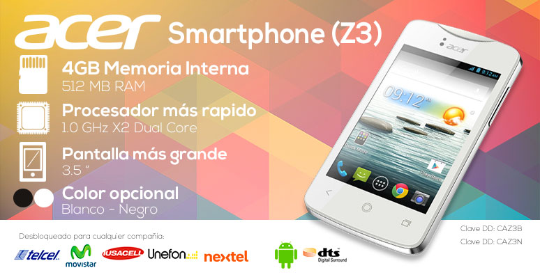 Acer-Celular-Smarthphone- Liquid Z3-3.5 pulgadas-MT6572M-4Gb