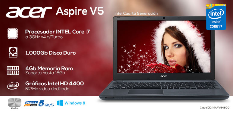 Acer-Laptop-Notebook-Aspire V5-Gamer-Intel Core i7-X4-4Gb Ram-1Tb DD