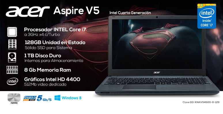 Acer-Laptop-Notebook-Aspire V5-Gamer-Intel Core i7-X4-8Gb Ram-128SSD