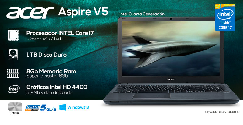 Acer-Laptop-Notebook-Aspire V5-Gamer-Intel Core i7-X4-8Gb Ram-1Tb DD