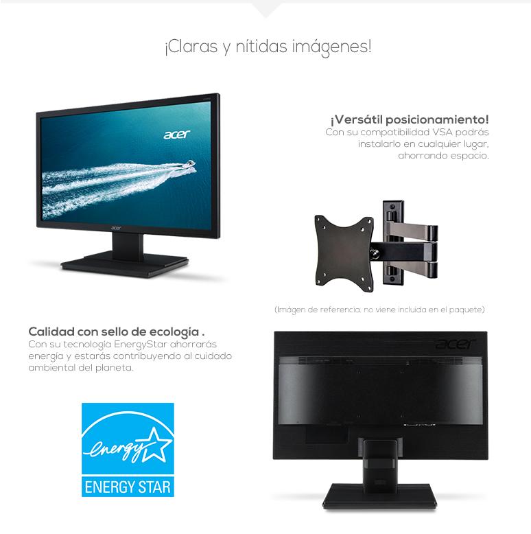 Acer-Monitor-Pantalla-V206HQL Abd-Rapido-Excelente resolución-Retroiluminada-desmontable-fotos