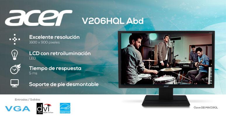 Acer-Monitor-Pantalla-V206HQL Abd-Rapido-Excelente resolución-Retroiluminada-desmontable