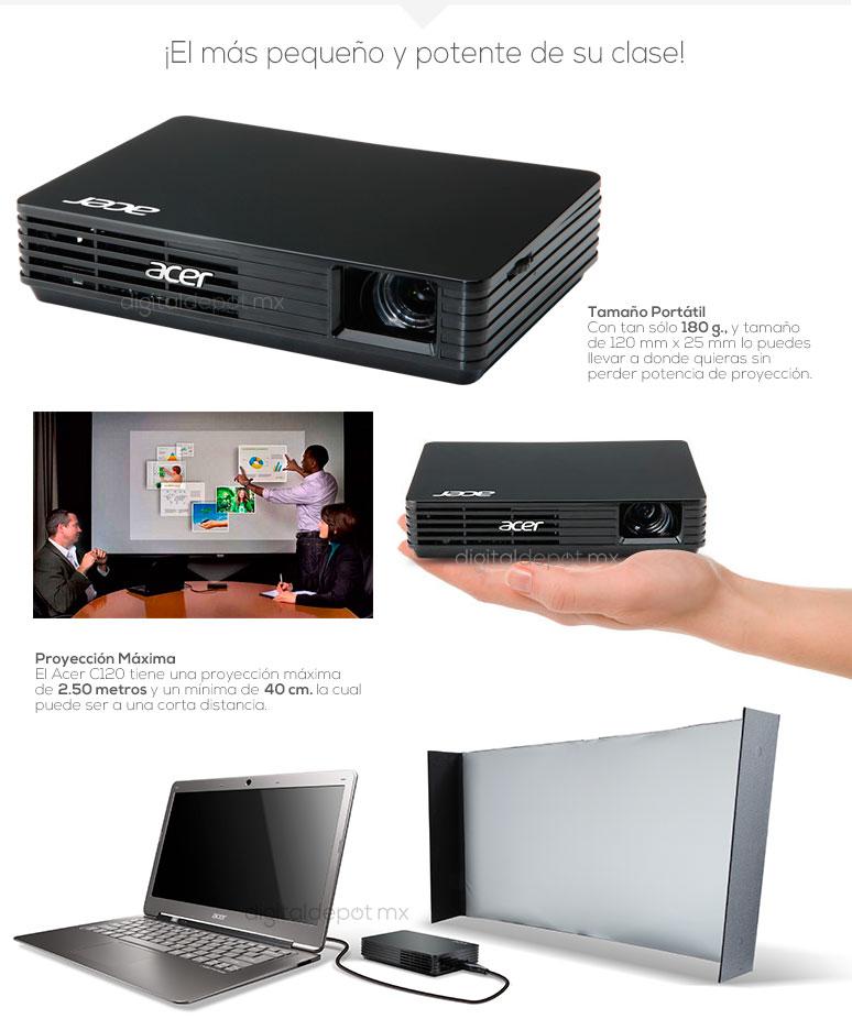 Acer-proyector-cañon-C120-mini-100 lumens-lampara 20000hrs-180g-fotos