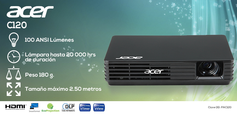 Acer-proyector-cañon-C120-mini-100 lumens-lampara 20000hrs-180g