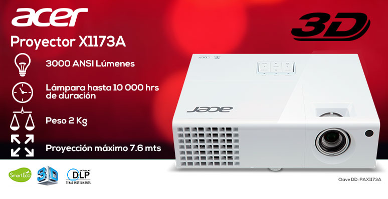 Acer-proyector-cañon-X1173a-blanco-3000 ANSI lumenes-lampara 10000hrs-2kg-3D