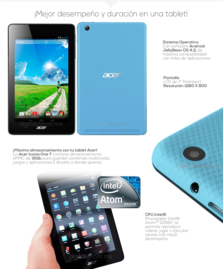 Acer-tablet-tableta-iconia one7-azul-intel Atom Z2560-16GB eMMC-1GB Ram-fotos