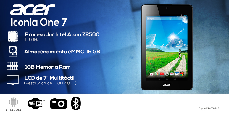 Acer-tablet-tableta-iconia one7-azul-intel Atom Z2560-16GB eMMC-1GB Ram