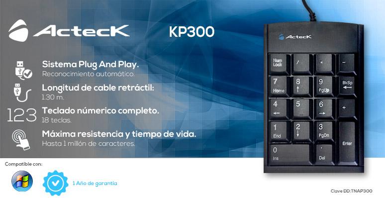 ActecK-teclado numerico-keypad-KP300-cable retractil-USB 2.0-Plug And Play