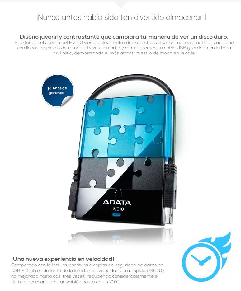 Adata-enclousure-carcaza-HV610-azul-usb 3.0-transmision LED-rompecabezas-fotos
