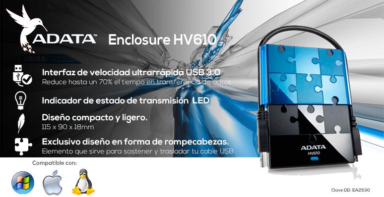 Adata-enclousure-carcaza-HV610-azul-usb 3.0-transmision LED-rompecabezas