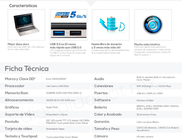 Asus-Laptop-Netbook-S202E-basica-Intel Celeron-2Gb Ram-1TB DD-caracteristicas