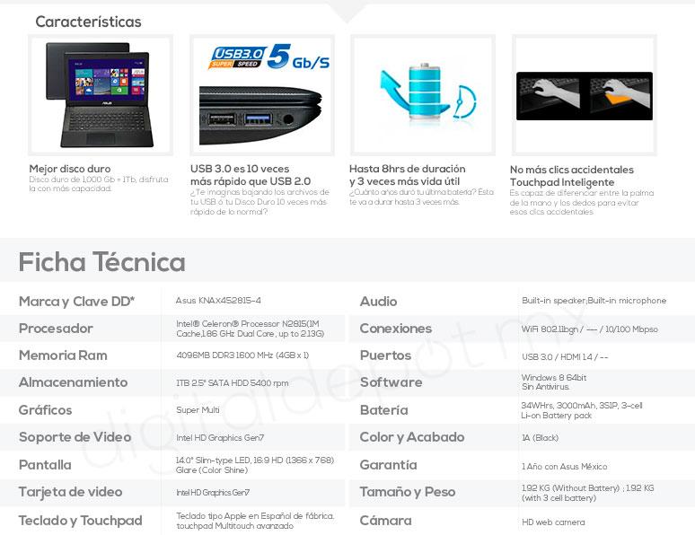 Asus-Laptop-Netbook-X451MA-barata-Intel N2815-4Gb Ram-1TB DD-caracteristicas