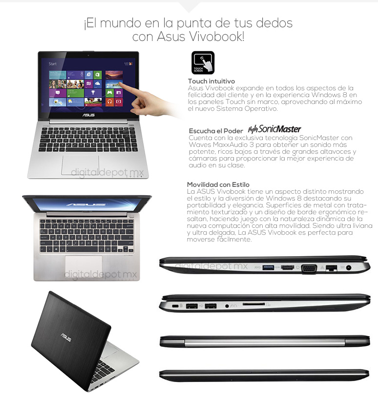 Asus-Laptop-VIVOBOOK-S400CA-MX3-H-mas sonido-Intel Quad Core i7-4Gb Ram-500Gb DD-24Gb SSD-fotos
