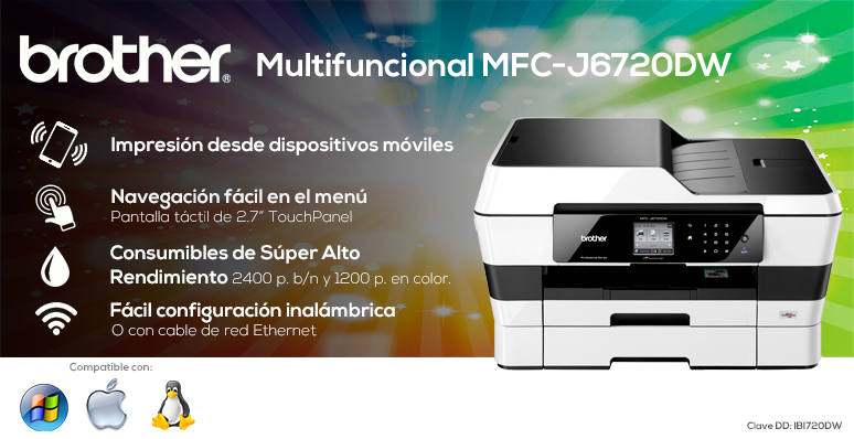 BROTHER-Impresora-Printer-MFC-J6720DW-Multifuncional-Red inalámbrica-Pantalla táctil-Alto rendimiento