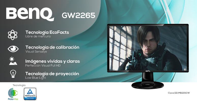 BenQ-Monitor-Pantalla-GW2265-Ahorrador-LED-Full HD-Tecnología Low Blue Light