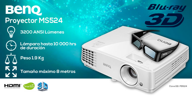 Benq-Proyector-Cañon-MS524-videoHD3D-3000lumens-lamparalargaduracion-8Mproyeccion