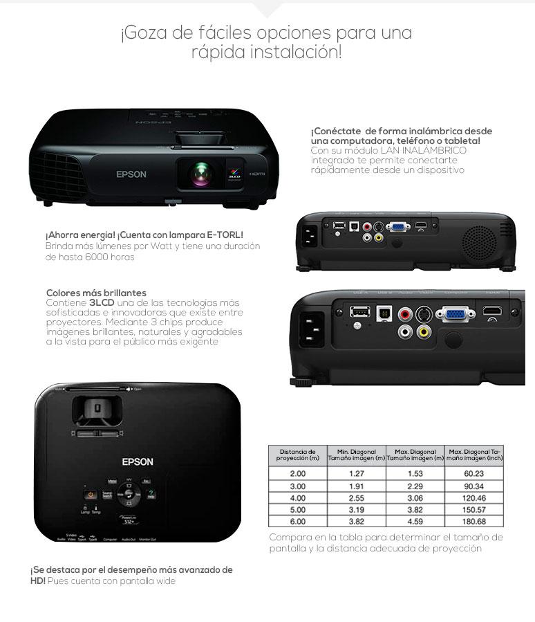 Epson-proyector-cañon-PowerLite s18+-nítido-3000 lumens-lampara 6000hrs-2.4kg-fotos