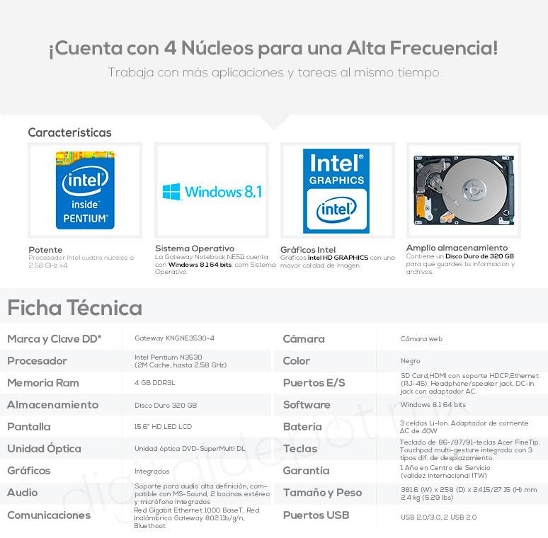 Gateway-Laptop-notebook-ne511-veloz-IntelX4-4GBRAM-320GBDD-caracteristicas
