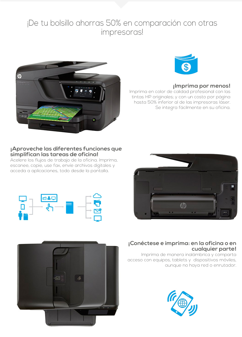 HP-Impresora-Printer-OfficeJet Pro-Multifuncional-Conectividad inalambrica-Escaner-Copiadora-fotos