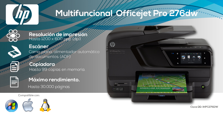 HP-Impresora-Printer-OfficeJet Pro-Multifuncional-Conectividad inalambrica-Escaner-Copiadora