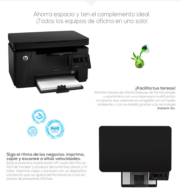 HP-impresora-printer-LaserJet Pro-Multifuncional-Laser-Escaner cama plana-128 MB de almacenamiento-fotos