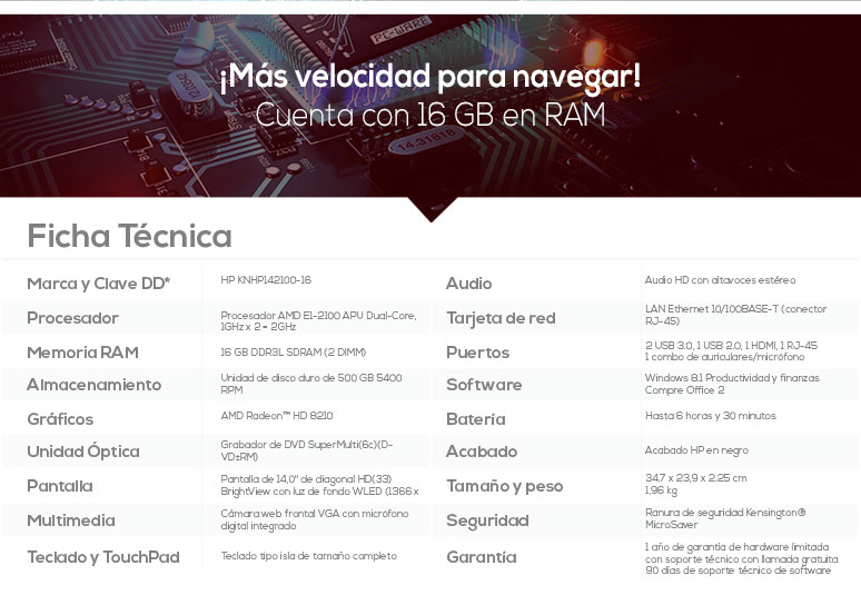 Hp-Laptop-Notebook-Pavilion 14-basica-AMD EI-2100 APU-16Gb Ram-500Gb DD-caracteristicas