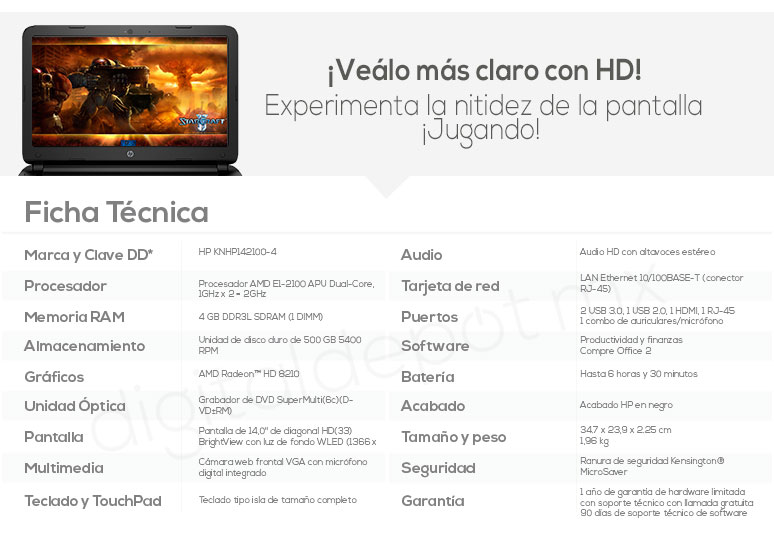 Hp-Laptop-Notebook-Pavilion 14-basica-AMD EI-2100 APU-4Gb Ram-500Gb DD-caracteristicas
