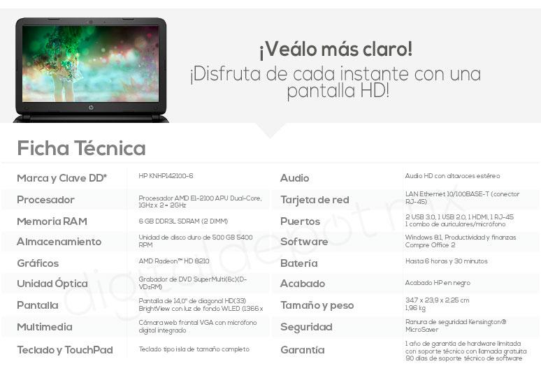Hp-Laptop-Notebook-Pavilion 14-basica-AMD EI-2100 APU-6Gb Ram-500Gb DD-caracteristicas