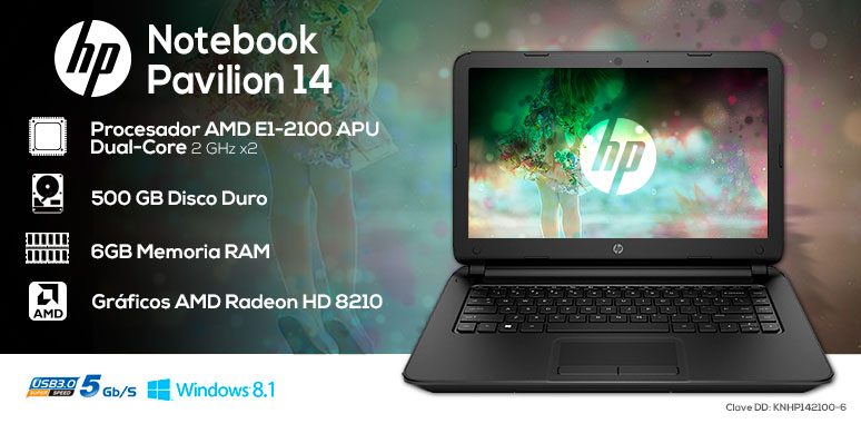 Hp-Laptop-Notebook-Pavilion 14-basica-AMD EI-2100 APU-6Gb Ram-500Gb DD