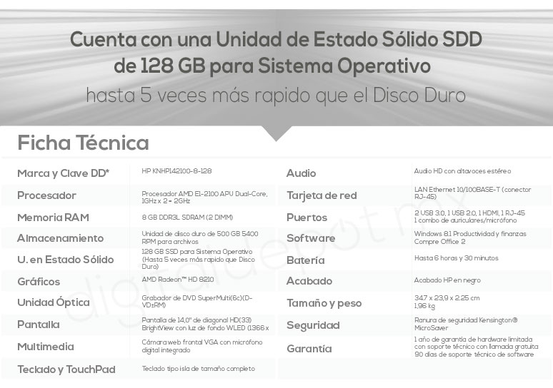 Hp-Laptop-Notebook-Pavilion 14-potente-AMD EI-2100 APU-128Gb SSD-8Gb Ram-500Gb DD-caracteristicas