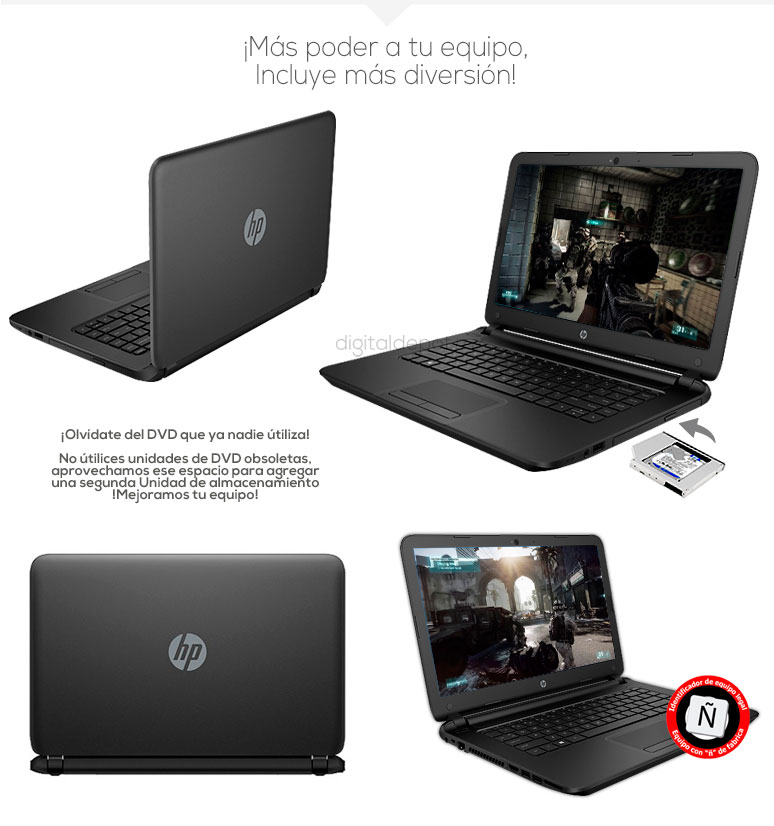 Hp-Laptop-Notebook-Pavilion 14-potente-AMD EI-2100 APU-128Gb SSD-8Gb Ram-500Gb DD-fotos