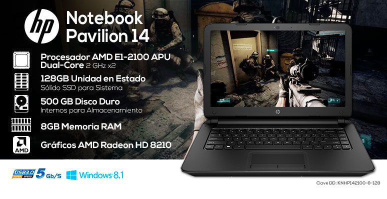 Hp-Laptop-Notebook-Pavilion 14-potente-AMD EI-2100 APU-128Gb SSD-8Gb Ram-500Gb DD