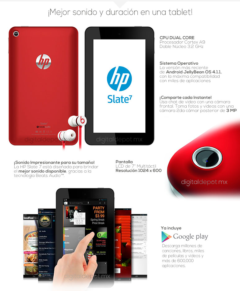 Hp-tablet-tableta-Slate 7-roja-Cortex A9 Dual Core-1GB DDR3 Ram-8Gb DD-fotos