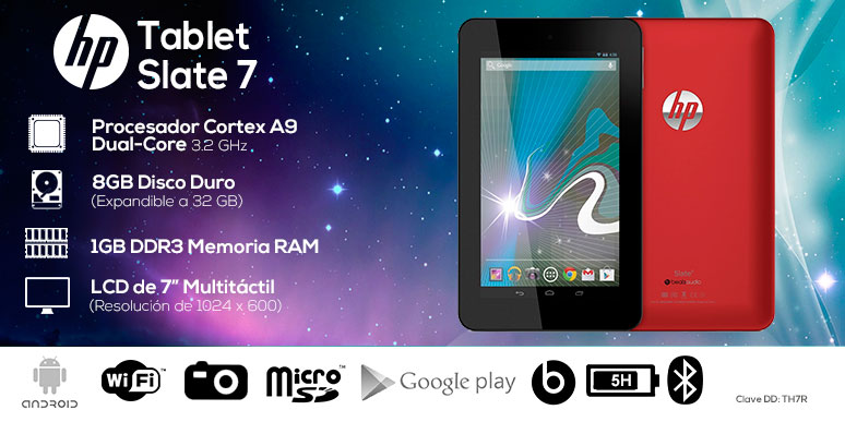 Hp-tablet-tableta-Slate 7-roja-Cortex A9 Dual Core-1GB DDR3 Ram-8Gb DD