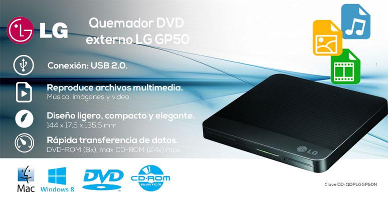 LG-Quemador-GP50-compacto-DVD externo-reproductor multimedia-rapida transferencia