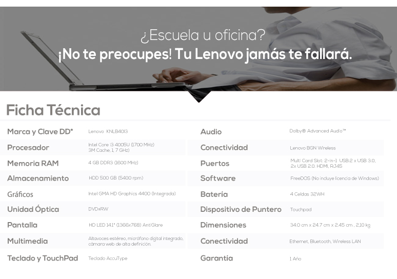 Lenovo-Laptop-Notebook-B40-70-Intel Core i3-4GB Ram-500GB DD-caracteristicas