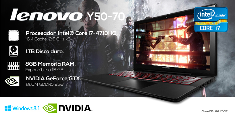 Lenovo-Laptop-Notebook-Y50-70-Gamer-Intel Core i7-8GB Ram-1TB DD