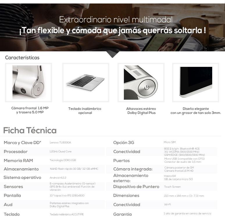 Lenovo-Tablet-Tableta-IDEAPAD B800AF-touch-Quad Core-1GB Ram-16GB DD-caracteristicas