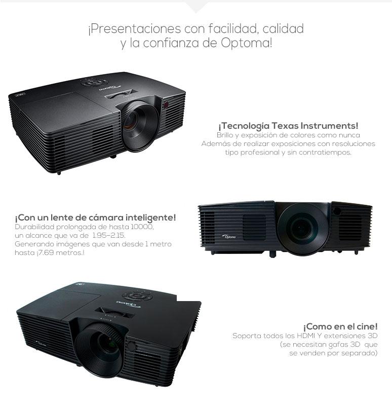 Optoma-Proyector-Cañon-BR323-Profesional-Conectividad Inalámbrica-Larga Durabilidad-Lente de camara inteligente-fotos