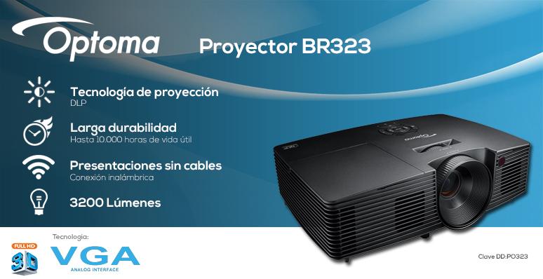 Optoma-Proyector-Cañon-BR323-Profesional-Conectividad Inalámbrica-Larga Durabilidad-Lente de camara inteligente