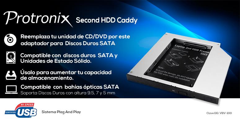 Protronix-Caddy HDD-Second HDD-adaptador-compatible discos duros-unidades de estado solido-Sata 9, 7 y 5mm