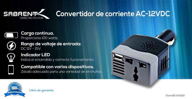 Sabrent-Convertidor de corriente-AC-12VDC-para Automovil-100 watts-voltaje DC11V-15V-compatible con varios dispositivos