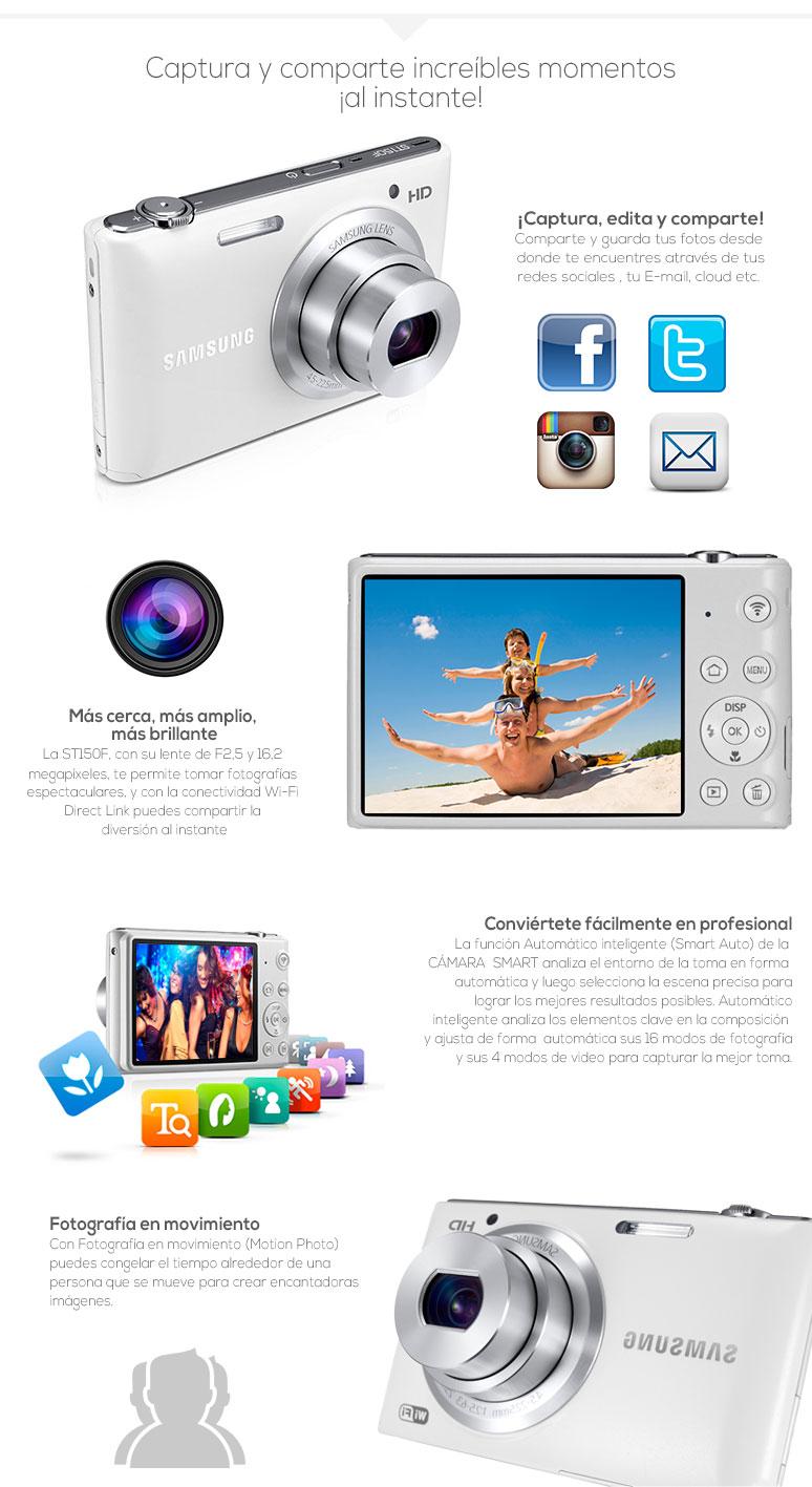 Samsung-Camara digital-fotografia-video-ST150F-Wi-fi-16 megapixeles-LCD-fotos