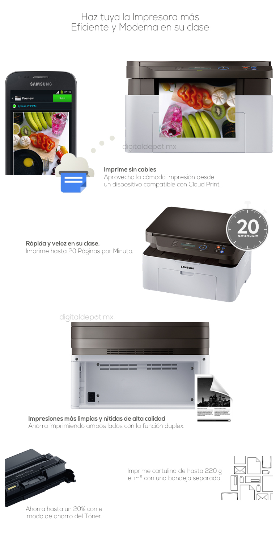Samsung-Impresora-Printer-SL-M2070-Multifuncional-Rellenable-Rapida-blanco-negro-fotos