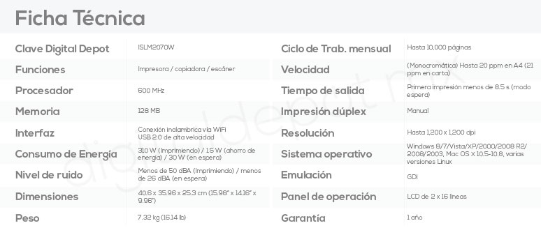 Samsung-Impresora-Printer-SL-M2070W-Multifuncional-Laser-conexion Wifi-caracteristicas