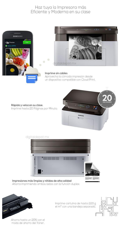 Samsung-Impresora-Printer-SL-M2070W-Multifuncional-Laser-conexion Wifi-fotos