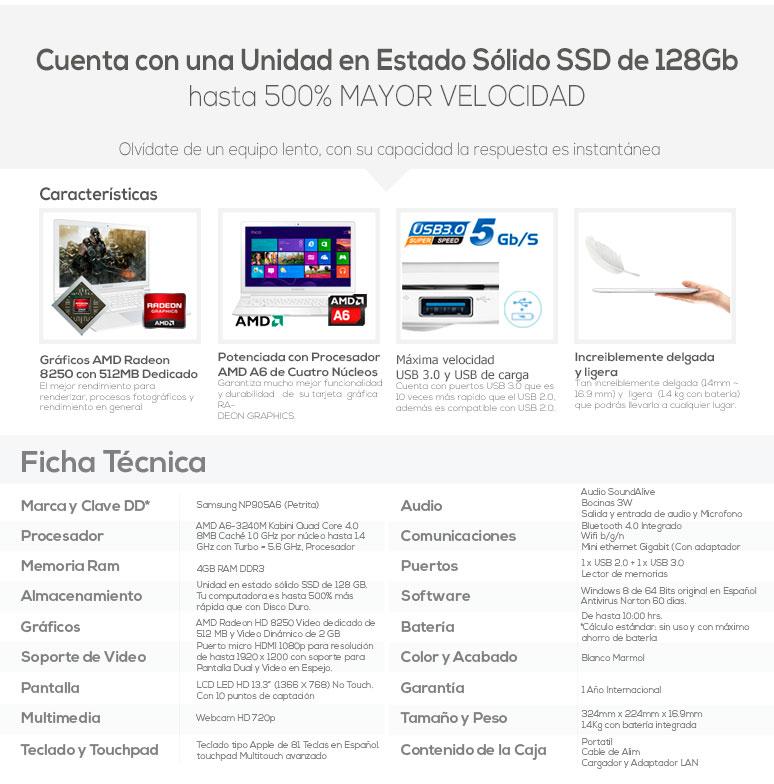 Samsung-Laptop-Ultrabook-ATIV9LITE-ligera-AMDA6-4GBRAM-128SSD-caracteristicas