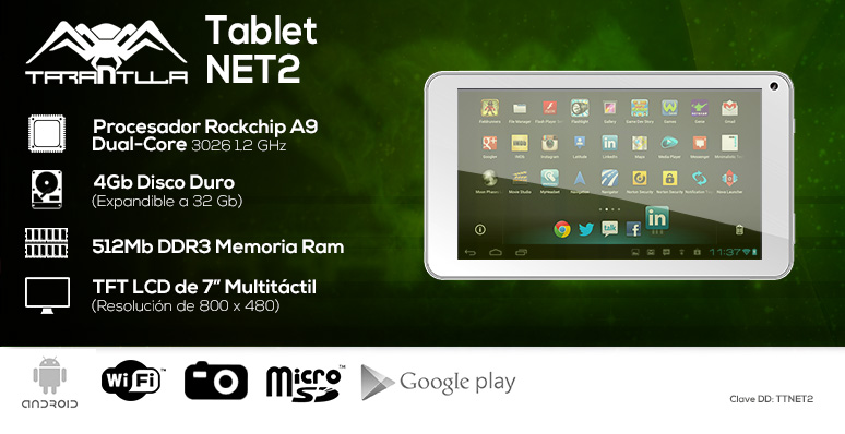 Tarantula-tablet-tableta-NET2-Dual Core-Rockchip A9-4GB DD-512Mb DDR3 Ram