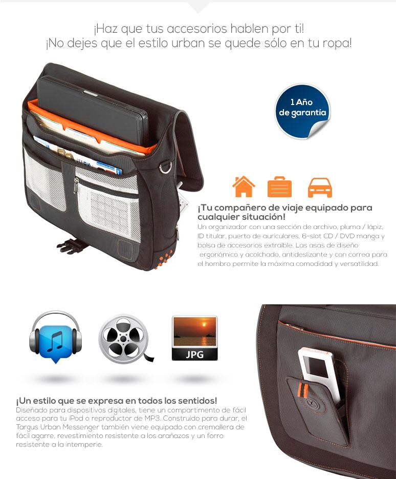 Targus-maletin laptop-Urban case-urbano-equipos hasta 15.4-compartimientos-comodo-fotos